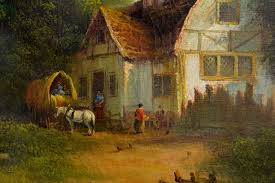 henry t harvey english country cottage landscape painting for at 1stdibs