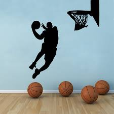 free size basketball wall art decor basketball player dunk vinyl wall decal stickers s2058 in