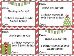 Student Holiday Gift Thank You Notes Pre Written Personalized