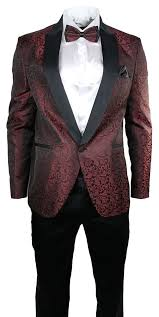 Patterned Tuxedo Cool Latest Coat Pant Designs Mulberry Red Pattern Men Suits Slim Fit 48