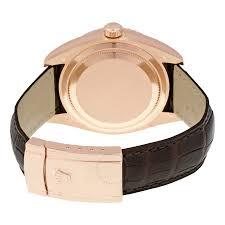 rolex sky dweller brown dial gmt 18k rose gold leather men s watch 326135bral