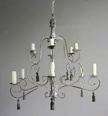 twelve light french painted chandelier w tassels