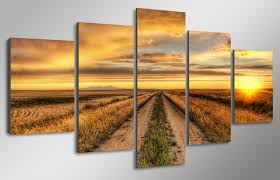 promotion modern abstract country road canvas painting 5pcs regarding modern house country wall art and decor ideas