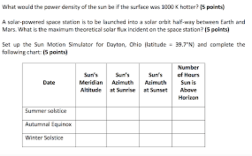 Sun Up Sun Down Chart Solved What Would The Power Density Of The Sun Be If The