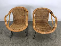 Pair Of MidCentury Modern Wicker And Iron Lounge Chairs Garden Or Patio