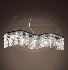 electra linear wave 5 light black and crystal chandelier 38 w x 50