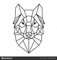 современные геометрии волк дизайн татуировки векторное изображение