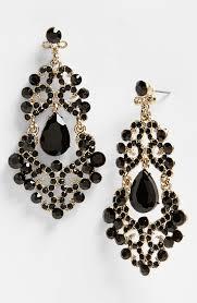 tasha ornate chandelier earrings in black jet antique
