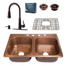 kitchen sinks and faucets. Pfister All-In-One Drop-In Copper 33 In. 4-Hole Kitchen Sinks And Faucets S
