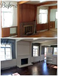 before and after dark stain refinished floors gray walls white trim and beams