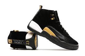 air jordan shoes for girls black. 2017 air jordan 12s black velvet-gold white shoes for girls and mens-1 i