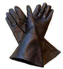 com leather gauntlet gloves black x large extra large long arm cuff sports outdoors