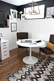 ikea table office. Home Office With Ikea Table, Desk. Sherwin Williams Tricorn Black Feature Benjamin Moore Cloud White On Foundation Wall Table