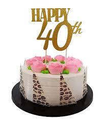 Amazoncom Gold Glitter Happy 40th Birthday Cake Topper Forever