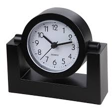timekeeper desktop swivel clock for desk shelf tabletop black frame w white