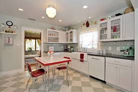 Red Retro Kitchen Accessories Stainless Steel Stove Rectangular White Marble Counter Top Stained