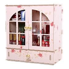 HOYOFO Large Wood Makeup Storage Cabinet Women's Cosmetic Desk Organizer  Box Tidy Storage Rack