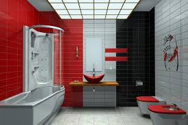 bathroom bath shower Modern Bathrooms with 3 colors tiled Light Gray , Black  and Red a