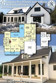Architectural Designs 51766hz Plan 51766hz Mid Size Exclusive Modern Farmhouse Plan In