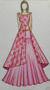 Model Dress Design Drawing Fashion Illustration Speed Painting With Ink Fashion