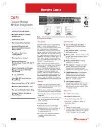 Temperature Maintenance Chart Cwm Heating Cable Constant Wattage Medium Temperature