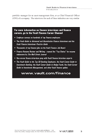 finance interviews 12 vault guide to finance interviews introductionportfolio