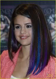 Selena Purple Blue Strips In Hair