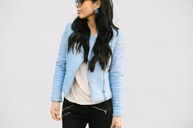 pale blue leather jacket