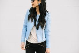 pale blue leather jacket pink