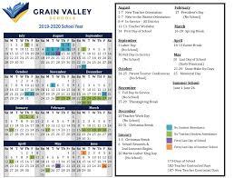 2019 2020 District Calendar Grain Valley Schools