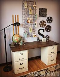 two honey oak file cabinets turned desk interesting furniture mattress springs deskattress