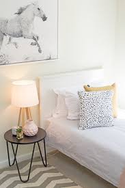 single bed ideas. Wonderful Single Kids Bedroom Teen Sunny Renovated Small Apartment White Timber Single  Bed Frame Horse Artwork Mustard And Pink Spotted Cushion To Single Bed Ideas E