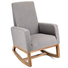 padded rocking chair. Modren Chair Giantex Upholstered Rocking Chair Modern High Back Armchair Comfortable Rocker  Fabric Padded Seat Wood Base Gray For H