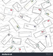 stock vector many letters and envelopes with stamps mail doodle seamless pattern background light white vector