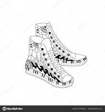Hippie Hight Sneakers In Zentangle Stijl Boek Kleurplaat Voor