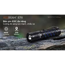 ĐÈN PIN SIÊU SÁNG ACEBEAM E70 sáng 4600lm chiếu xa 240m LED XHP70.2 dùng pin  21700 cổng sạc Type-C bảo hành 5 năm - Đèn pin