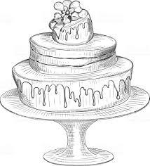 Birthday Cake Sketch Isolated On White Background Stock Vector Art