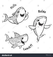 Collection Of Black And White Shark