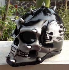 motorcycle helmet skull skeleton punk evil mohawk spikes full face