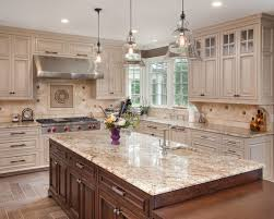 Traditional Kitchen With Admirable Off White Kitchen Cabinets Also Brown  Kitchen Island With Beige Marble