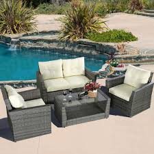 convenience boutique outdoor patio furniture set wicker rattan 4 piece