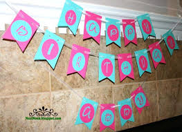 Birthday Flag Banner Pink Turquoise Custom
