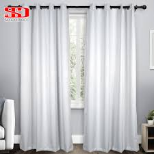 Solid Imitation Silk Blackout Curtains For Living Room Modern White ...