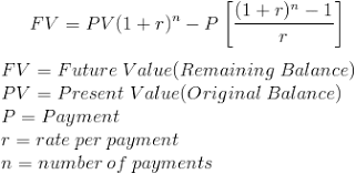 Solve For Remaining Balance Formula With Calculator