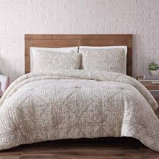 brooklyn loom sand washed cotton white sand full and queen quilt set