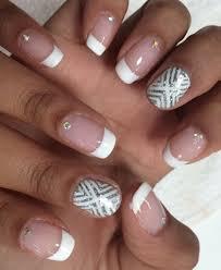 French Nail Art Designs 2014 White French Mani With Rhinestones Silver White Nail Art