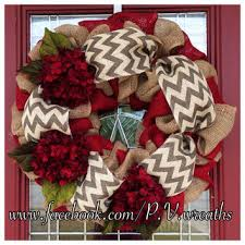 Burlap Christmas wreath - floral Christmas wreath - red hydrangea wreath -  chevron burlap wreath -