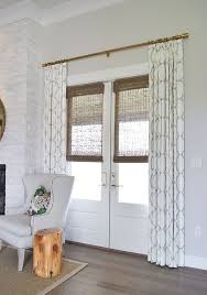 patterned curtains and bamboo shades for style and privacy  French CurtainsFrench  Doors BedroomMaster BedroomFarmhouse CurtainsWindow ...