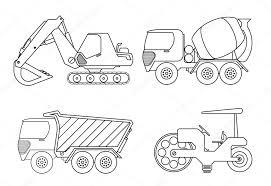 Kleurboek Voor Kinderen Vectorillustratie Van Kraan Auto Cement
