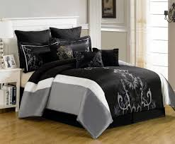 gorgeous black bedding comforter set with white bed frame
